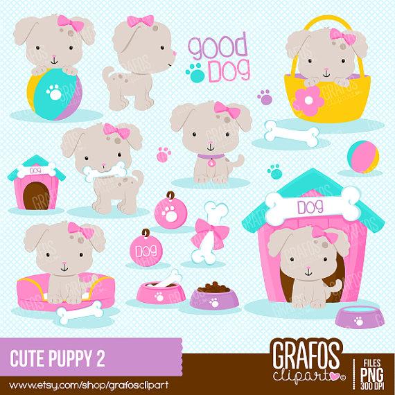 2 clipart cute. Puppy digital set dog