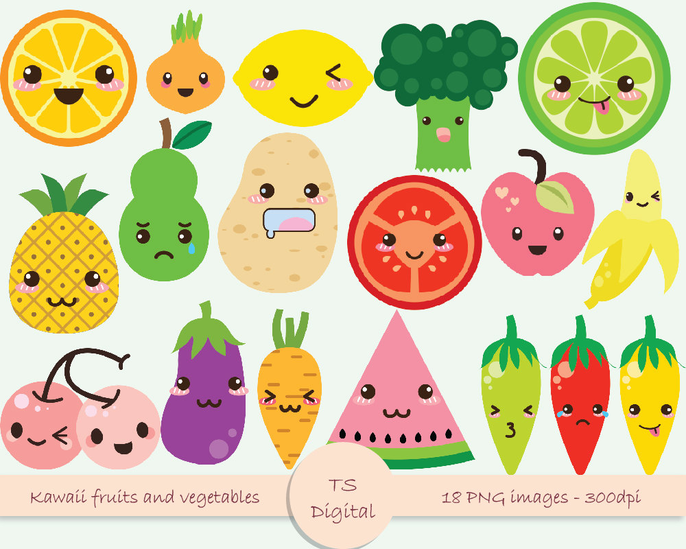 2 clipart cute. Fruits and vegetables station