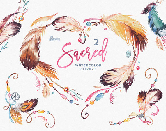 Sacred watercolor wreath heart. 2 clipart feather