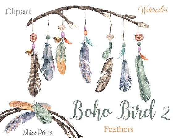 Boho bird watercolor wreaths. 2 clipart feather