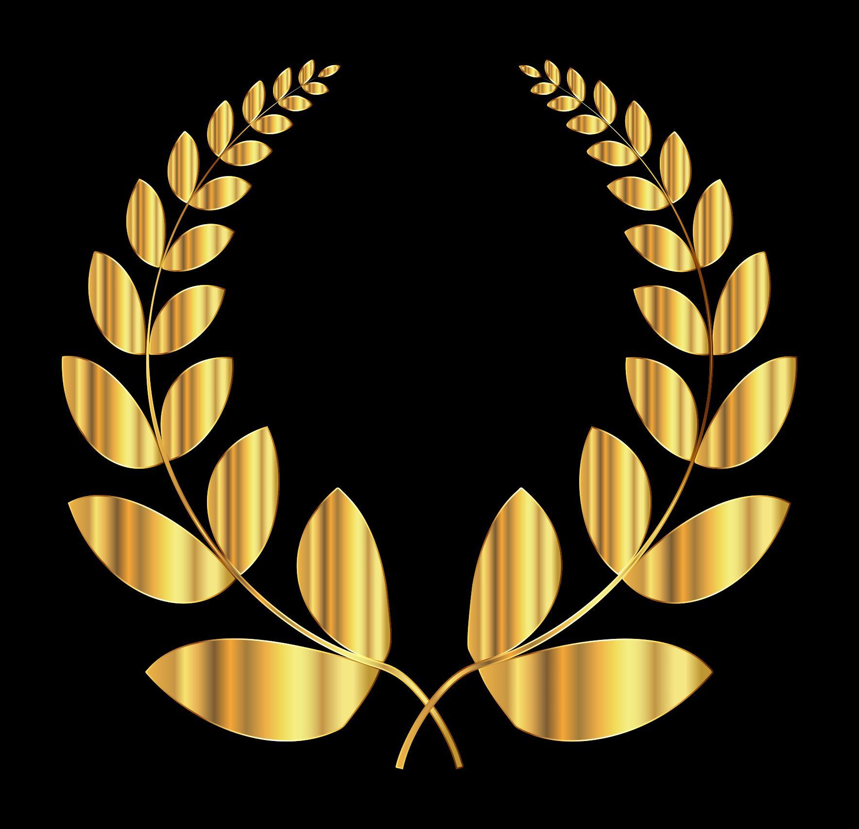 Laurel wreath design droide. 2 clipart gold