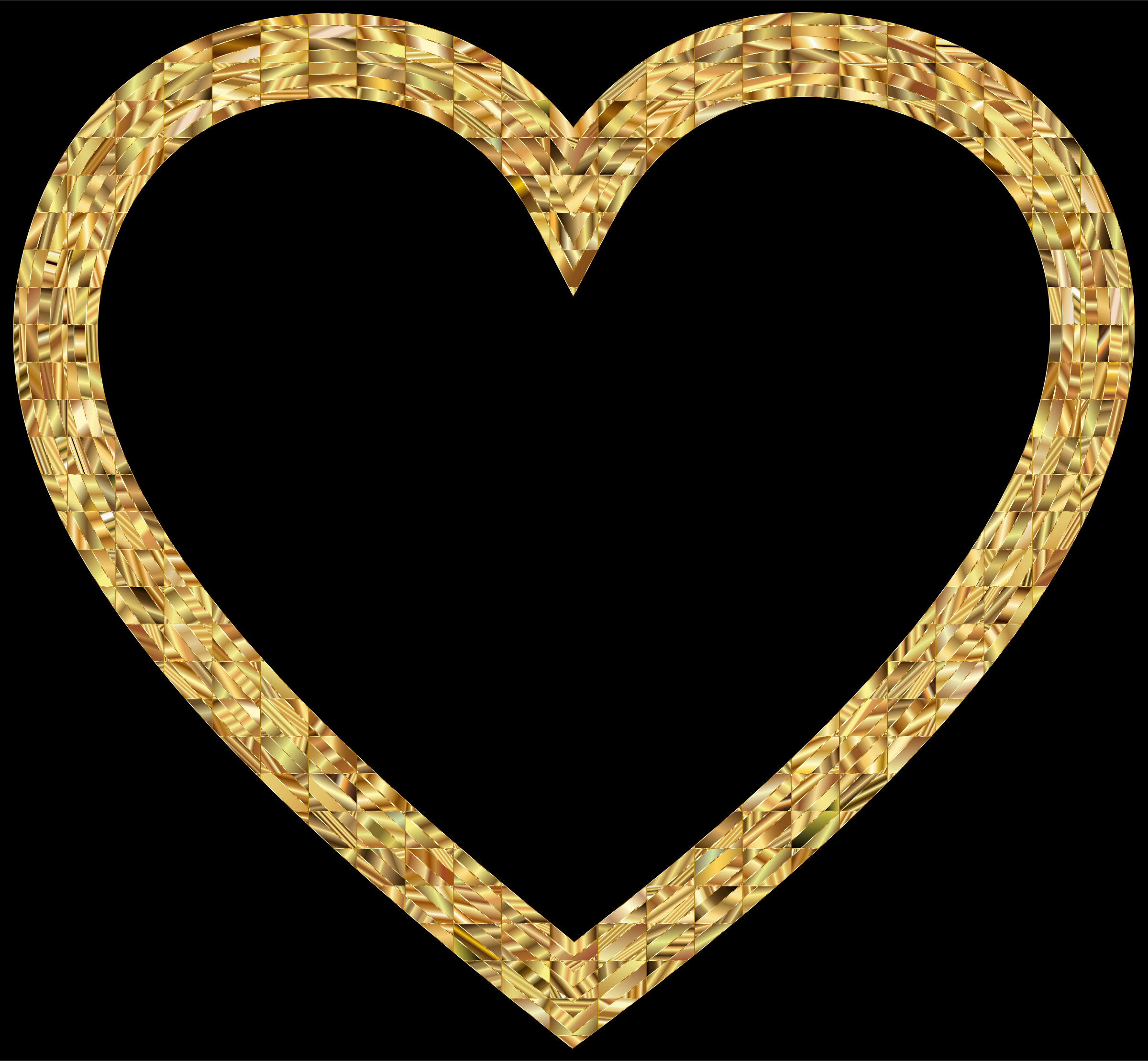 2 clipart gold. Golden heart with black