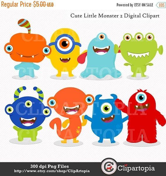 2 clipart monsters. Cute little monster digital