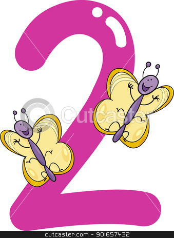 Two and butterflies stock. 2 clipart number