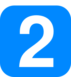 2 clipart number. In light blue rounded