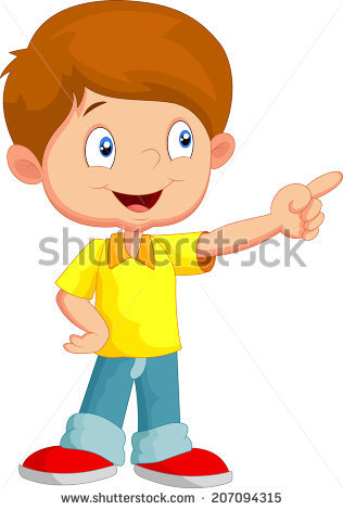 2 clipart object. Boy pointing an station