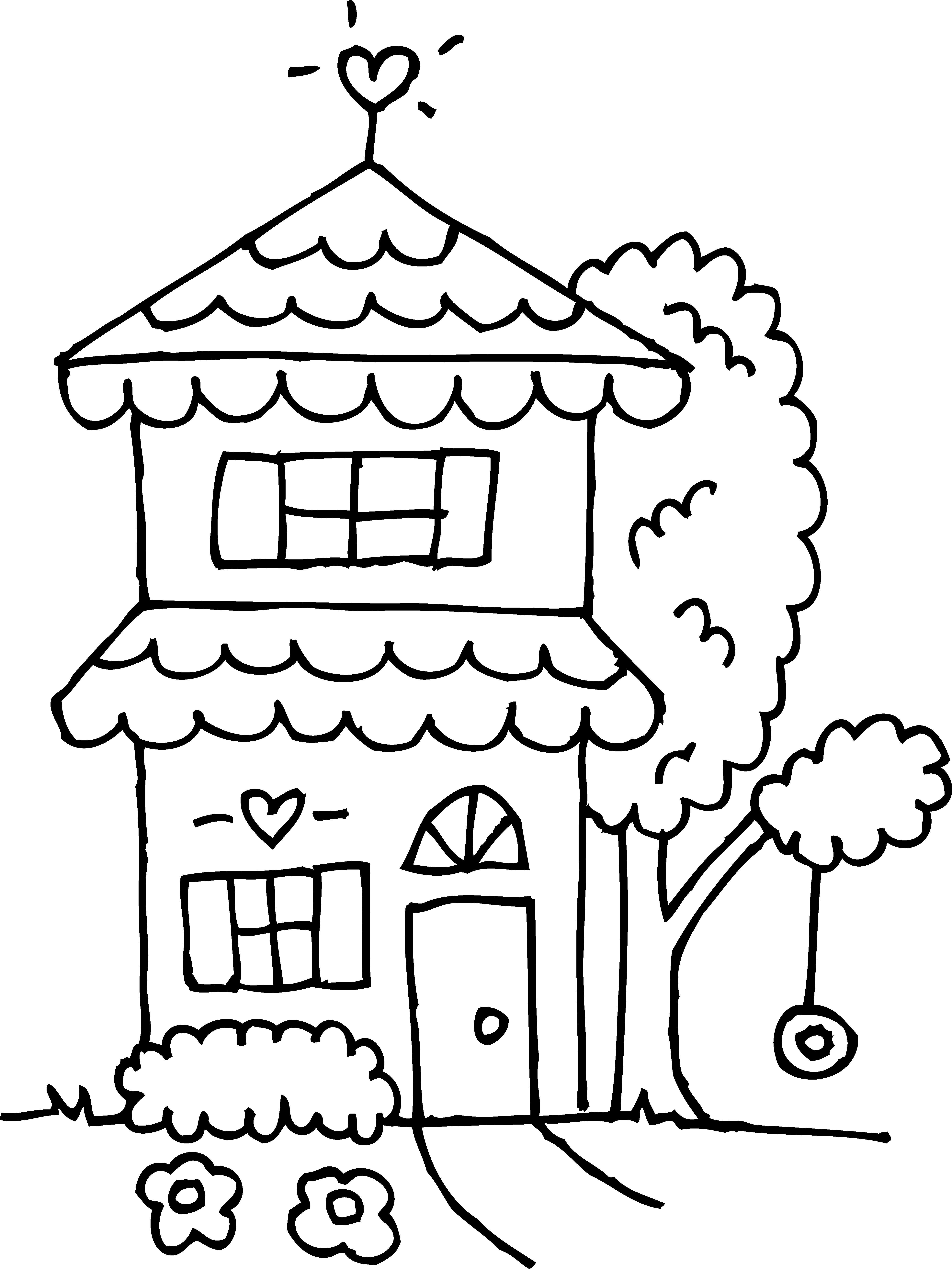 Two story house clipground. 2 clipart outline