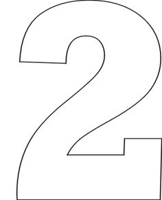Number clip art library. 2 clipart outline