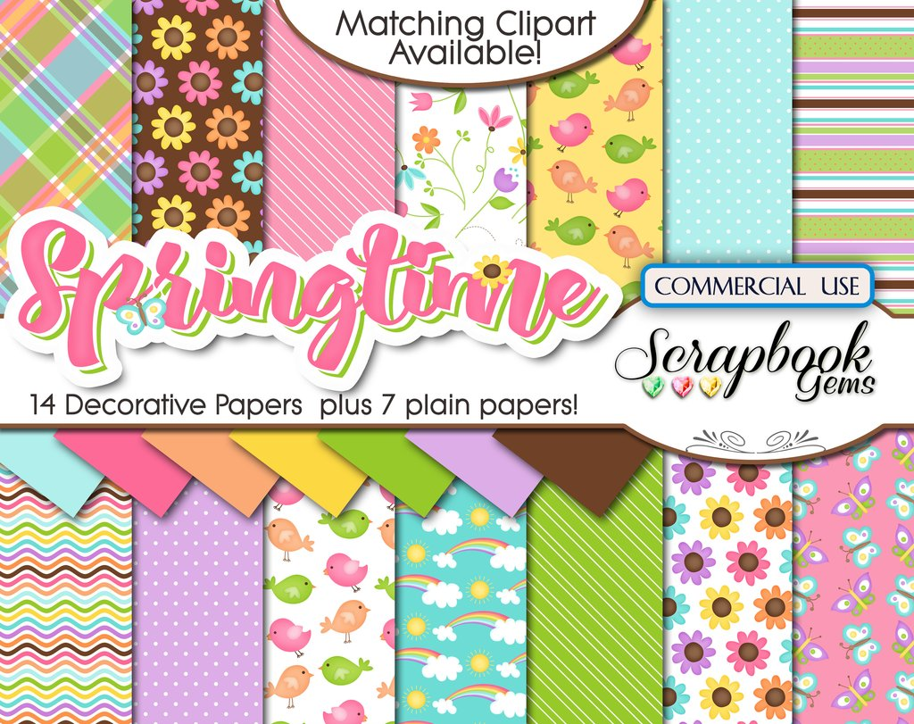 Springtime kit and scrapbook. 2 clipart papers