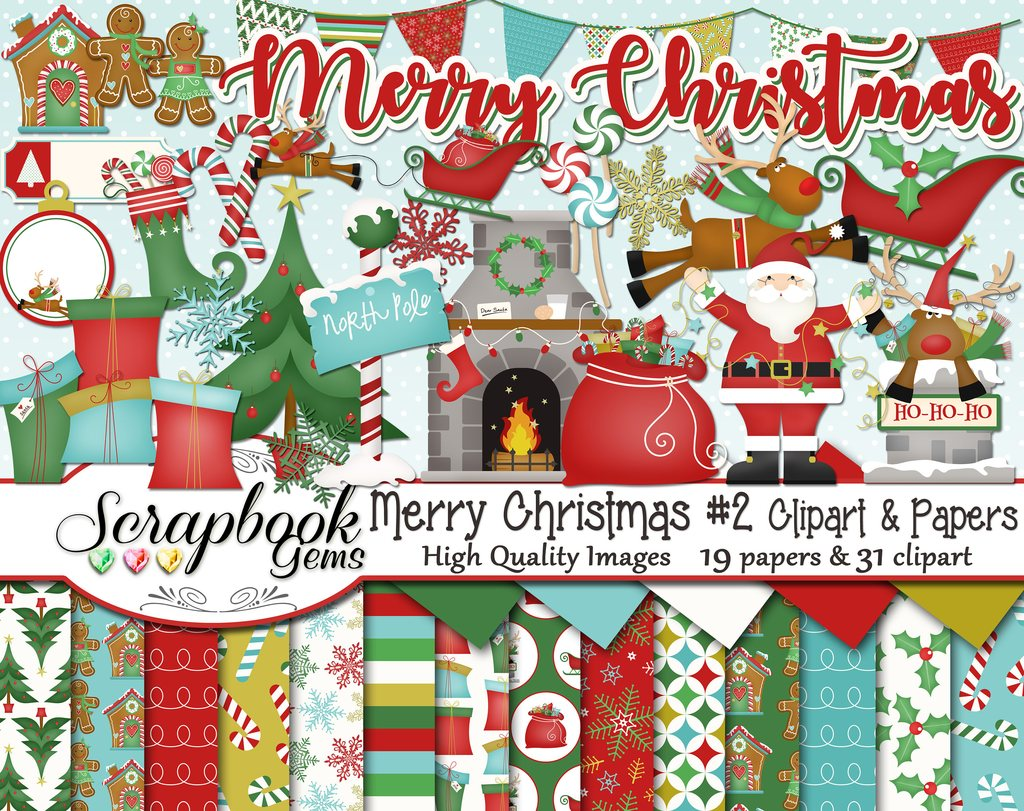 2 clipart papers. Merry christmas set and