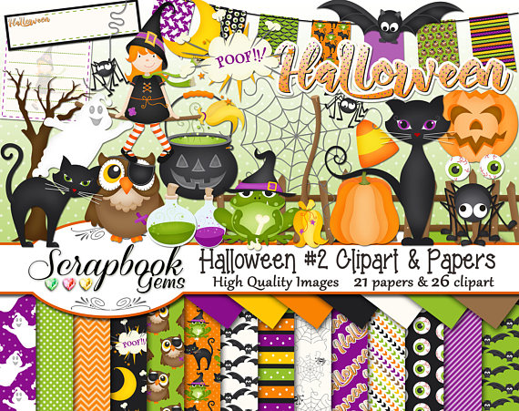 2 clipart papers. Halloween and kit png