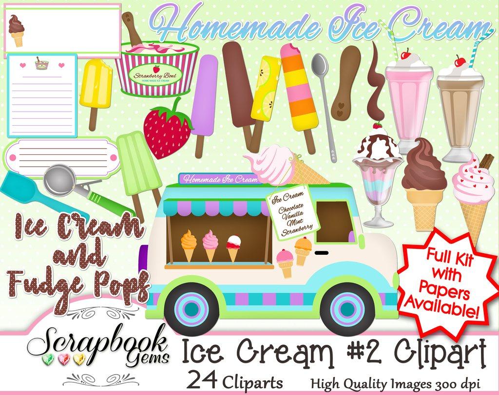 Ice cream set scrapbook. 2 clipart papers