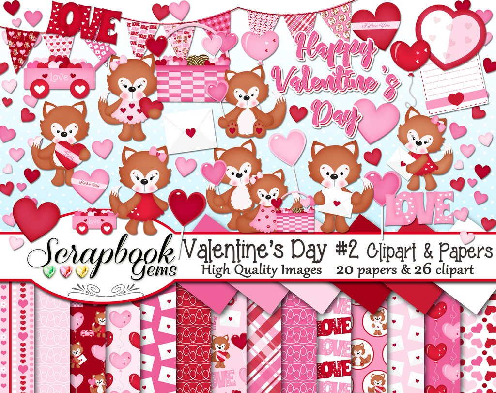 2 clipart papers. Valentine s day set