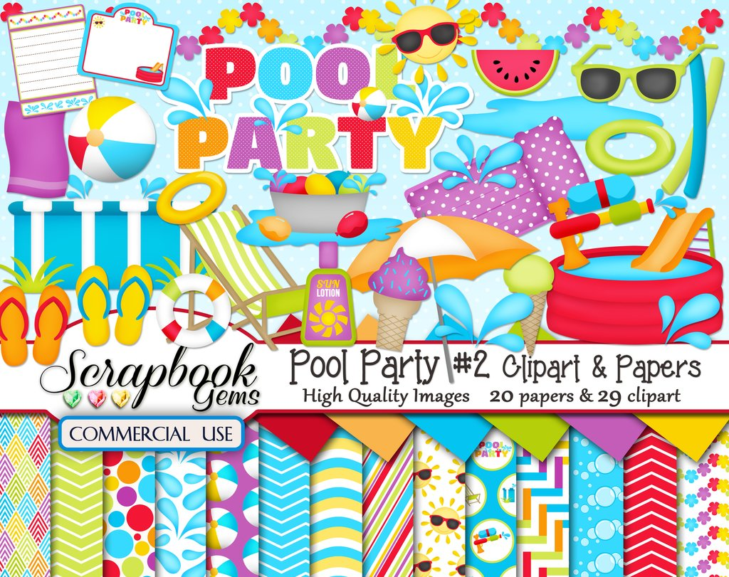 2 clipart papers. Pool party kit and