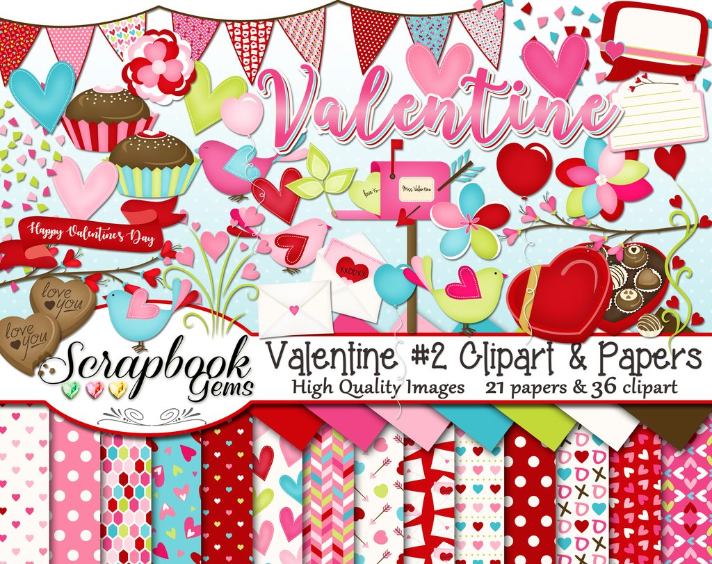 Valentine set and scrapbook. 2 clipart papers