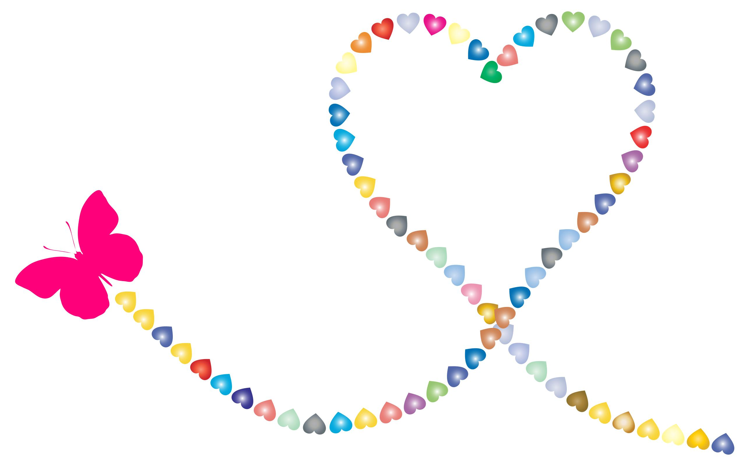 2 clipart path. Butterfly hearts trail design