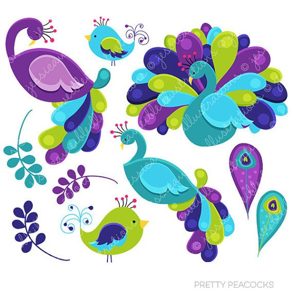 2 clipart peacock. Pretty peacocks cute digital