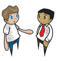 Two people talking clip. 2 clipart person