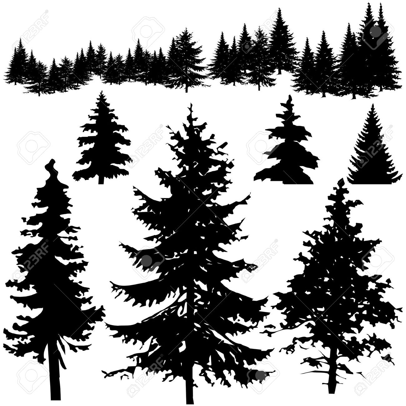 2 clipart pine tree. Silhouette cliparting com