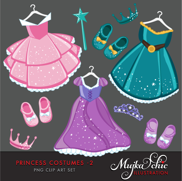 2 clipart princess. Costumes mujka printable characters