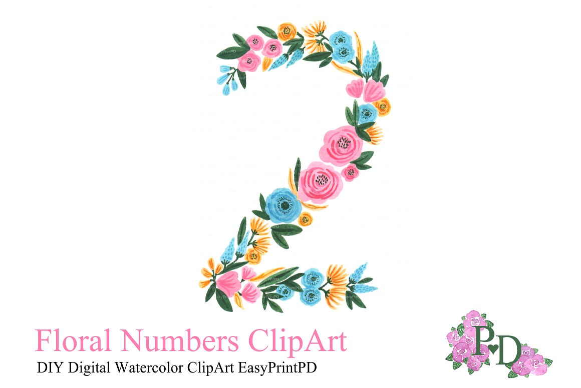 2 clipart single number. Floral two illustrations creative