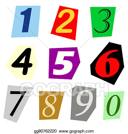 Drawing cut out set. 2 clipart single number