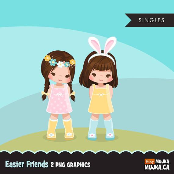 Easter girls brunette cute. 2 clipart spring