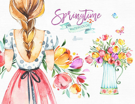 2 clipart spring. Springtime watercolor floral girls
