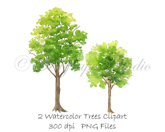 2 clipart spring. Watercolor trees png instant