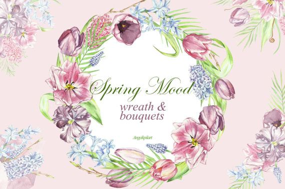 Watercolor mood bouquets wreath. 2 clipart spring