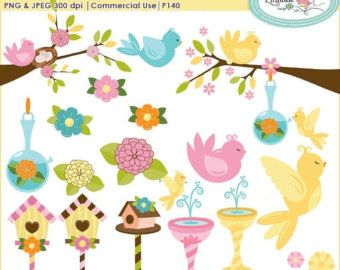 2 clipart spring. Birds for personal and