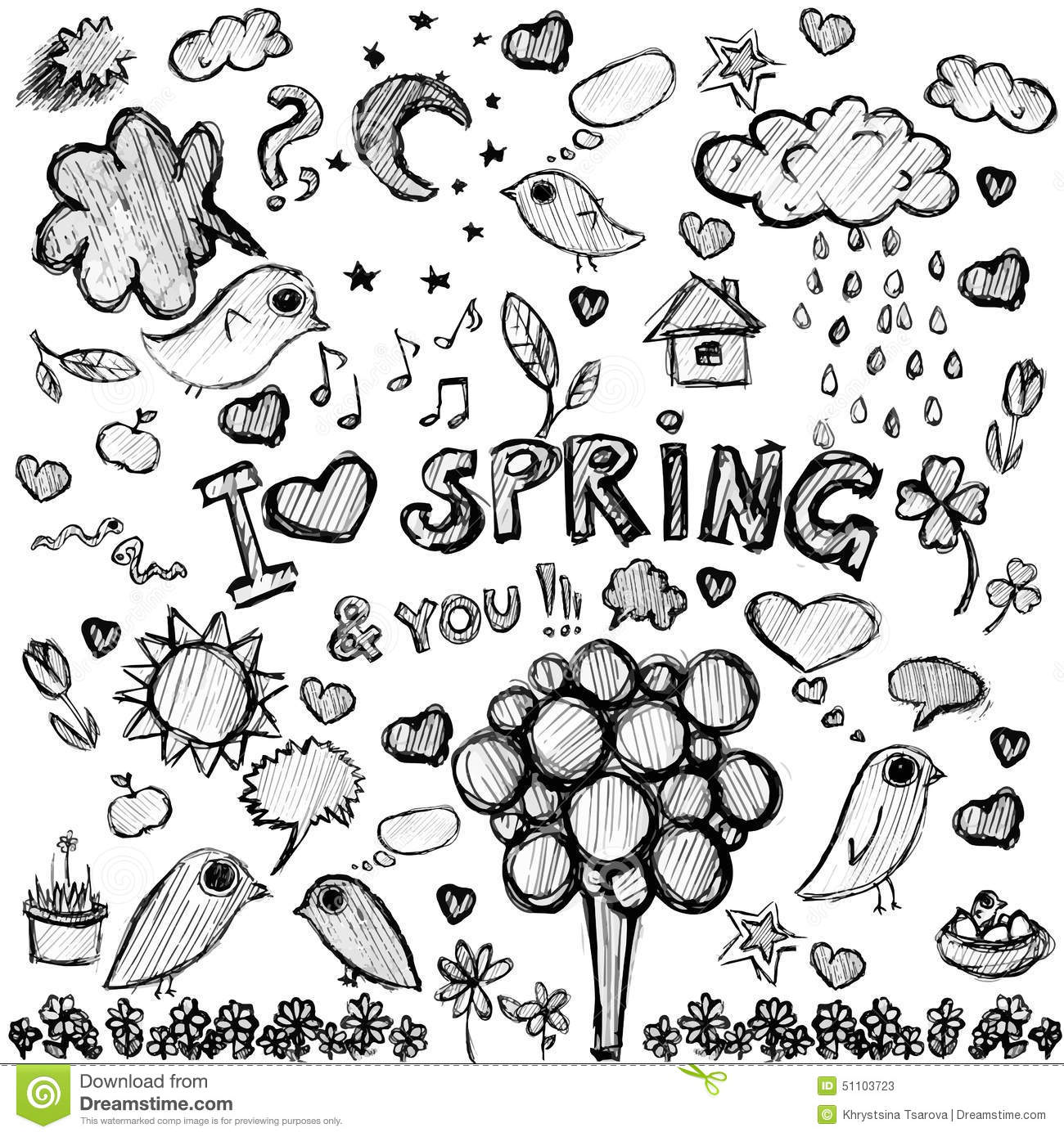 Season black and white. 2 clipart spring