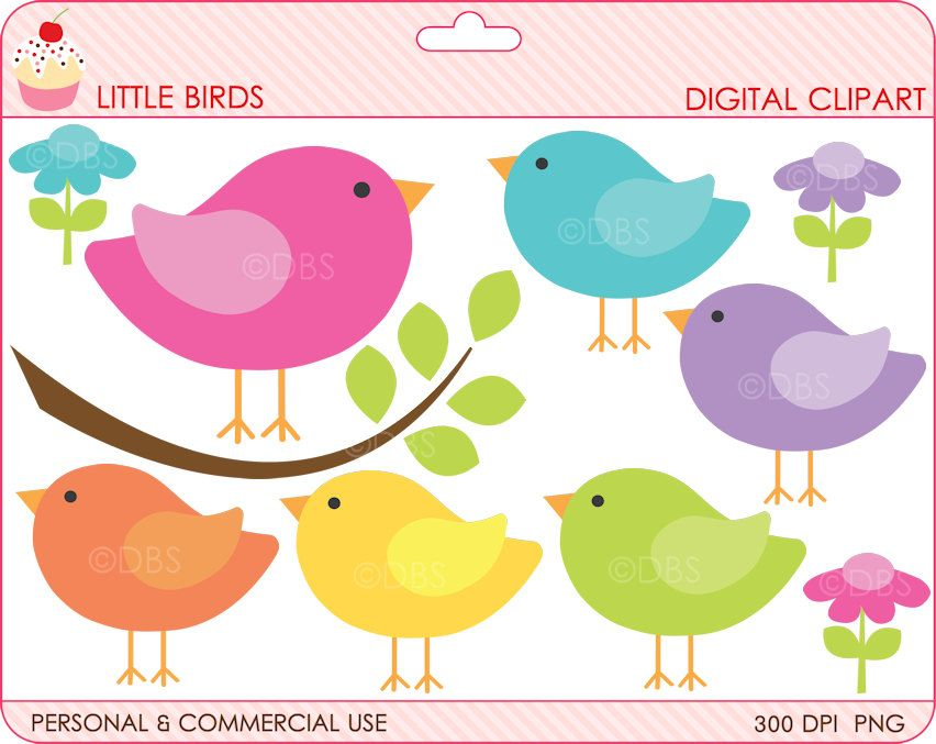 birds clipart digital clip art branch animals woodland spring