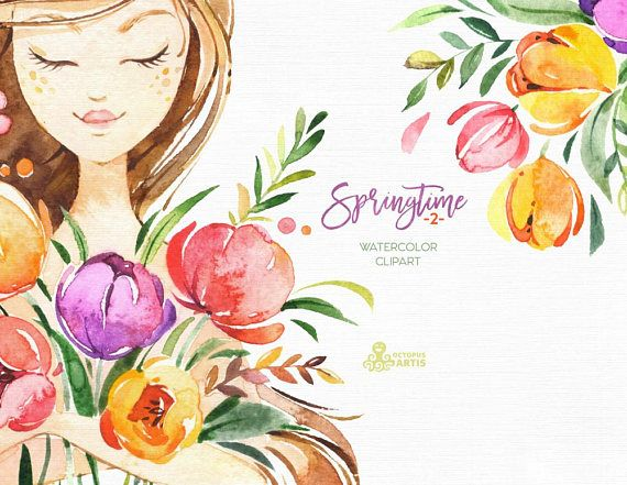 2 clipart spring.  best watercolor images