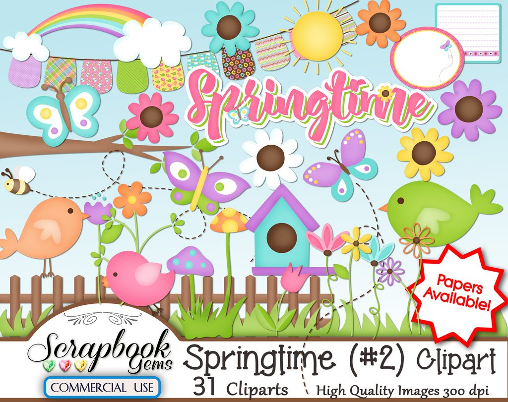 2 clipart spring. Springtime kit and papers