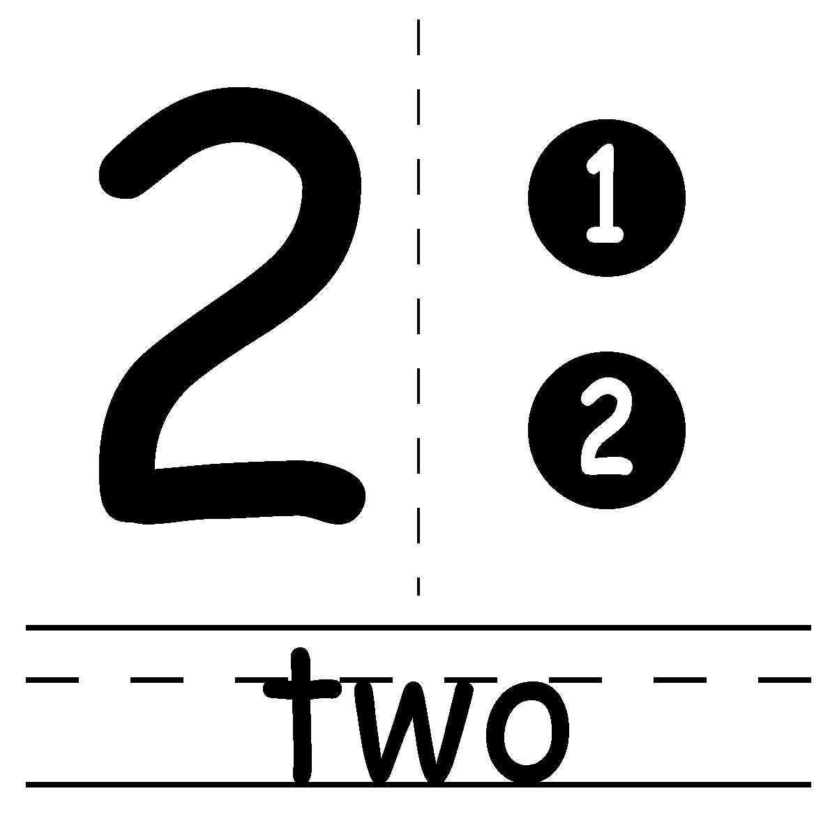 Number black and white. 2 clipart two