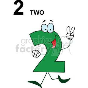 A green happy numbers. 2 clipart two