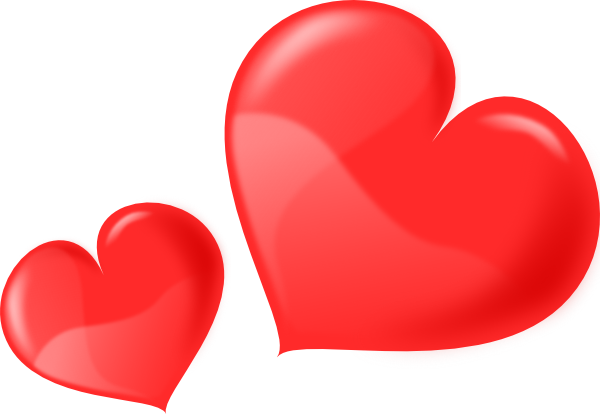 Two glossy clip art. 2 hearts png