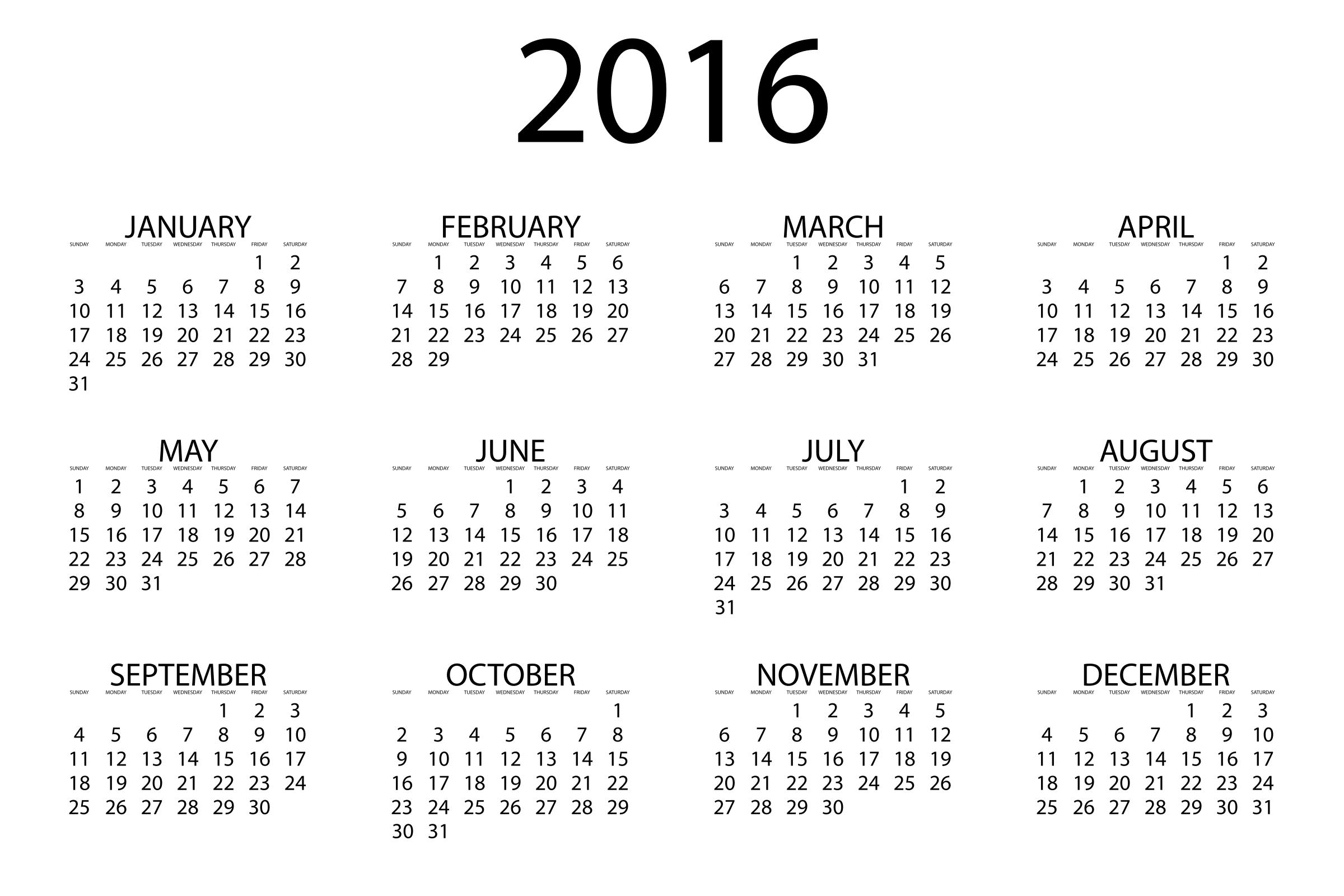 2016 clipart 2016 calendar. Big image png