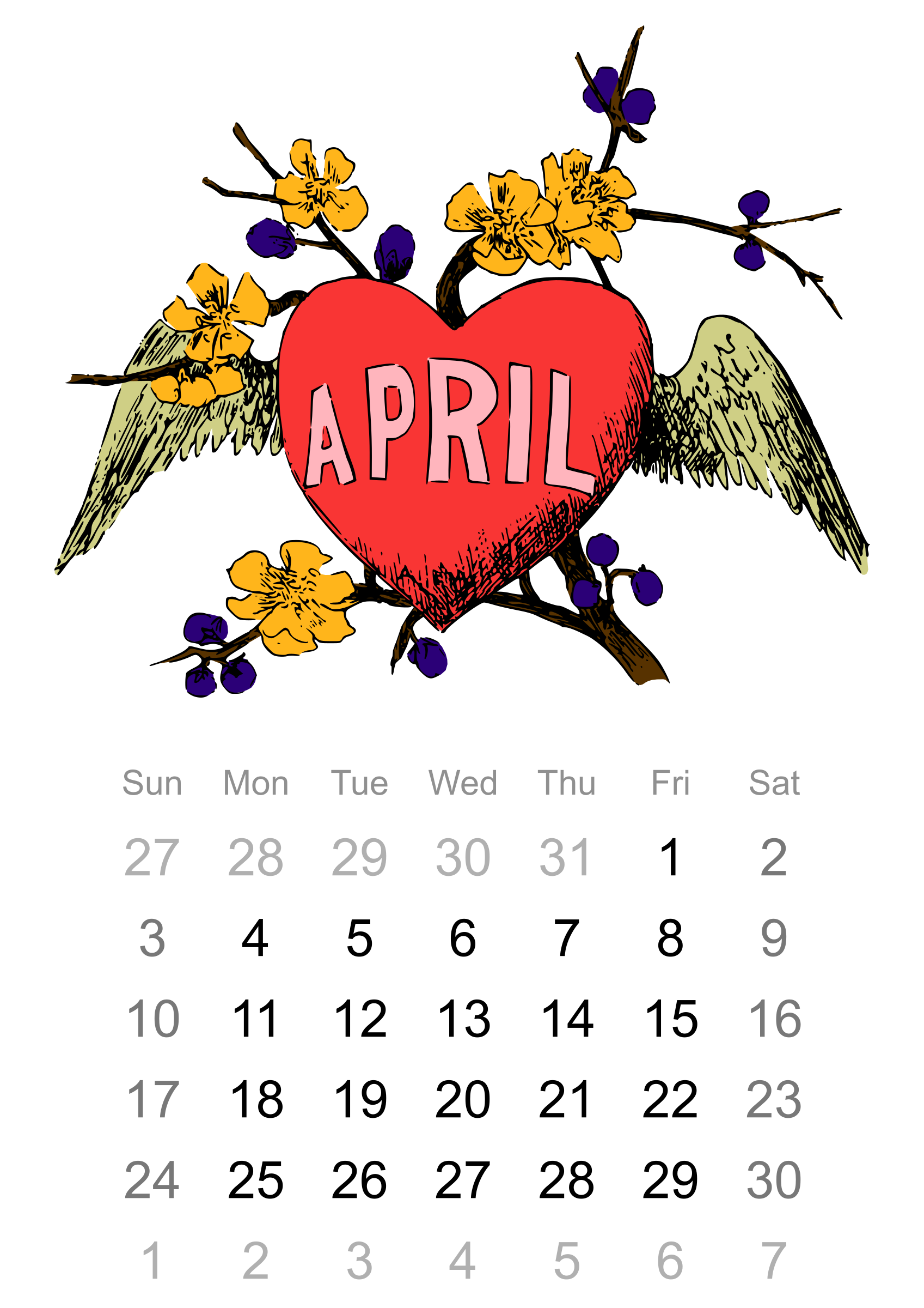 April big image png. Schedule clipart calendar 2016