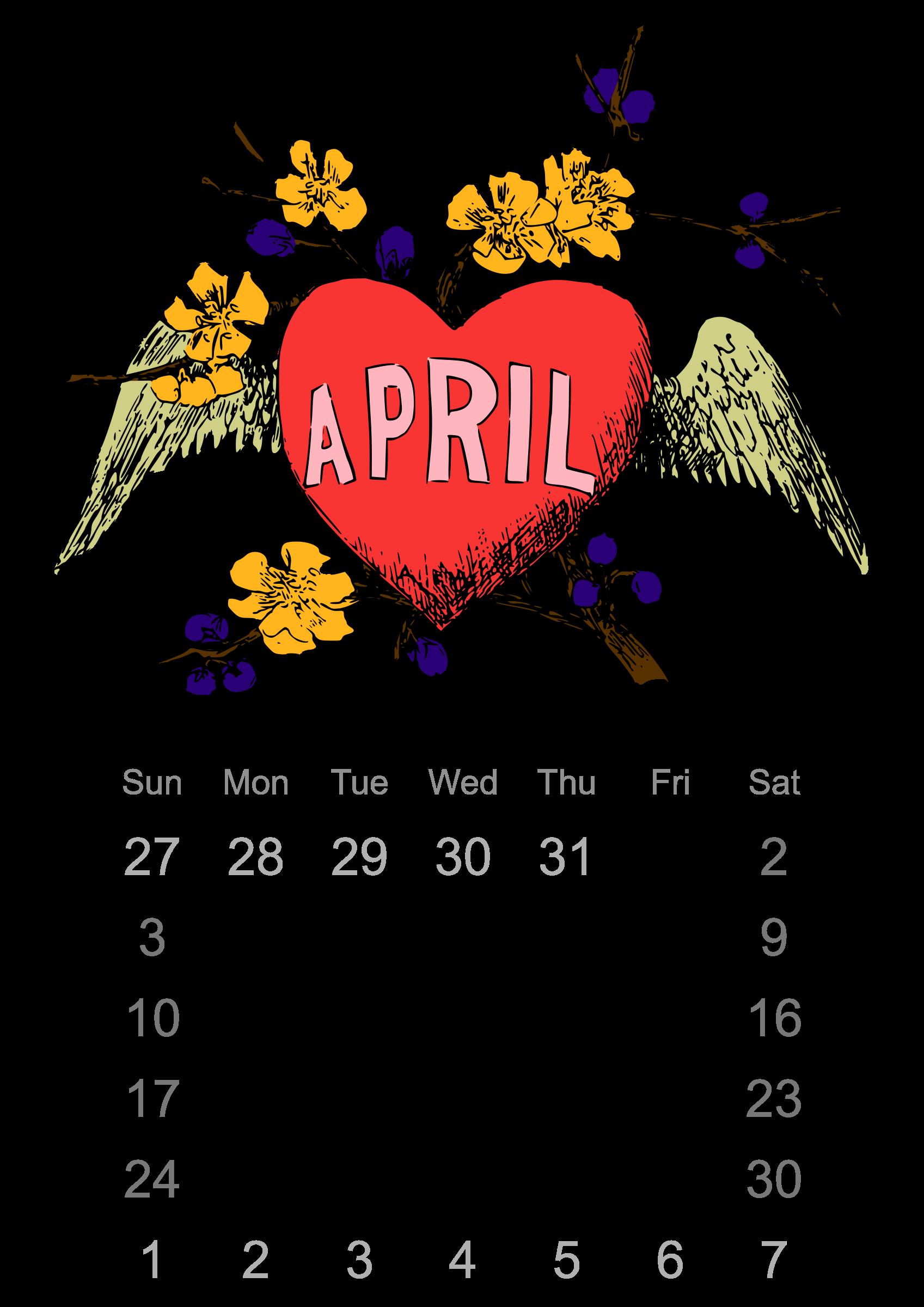Clipart calendar month. April big image png