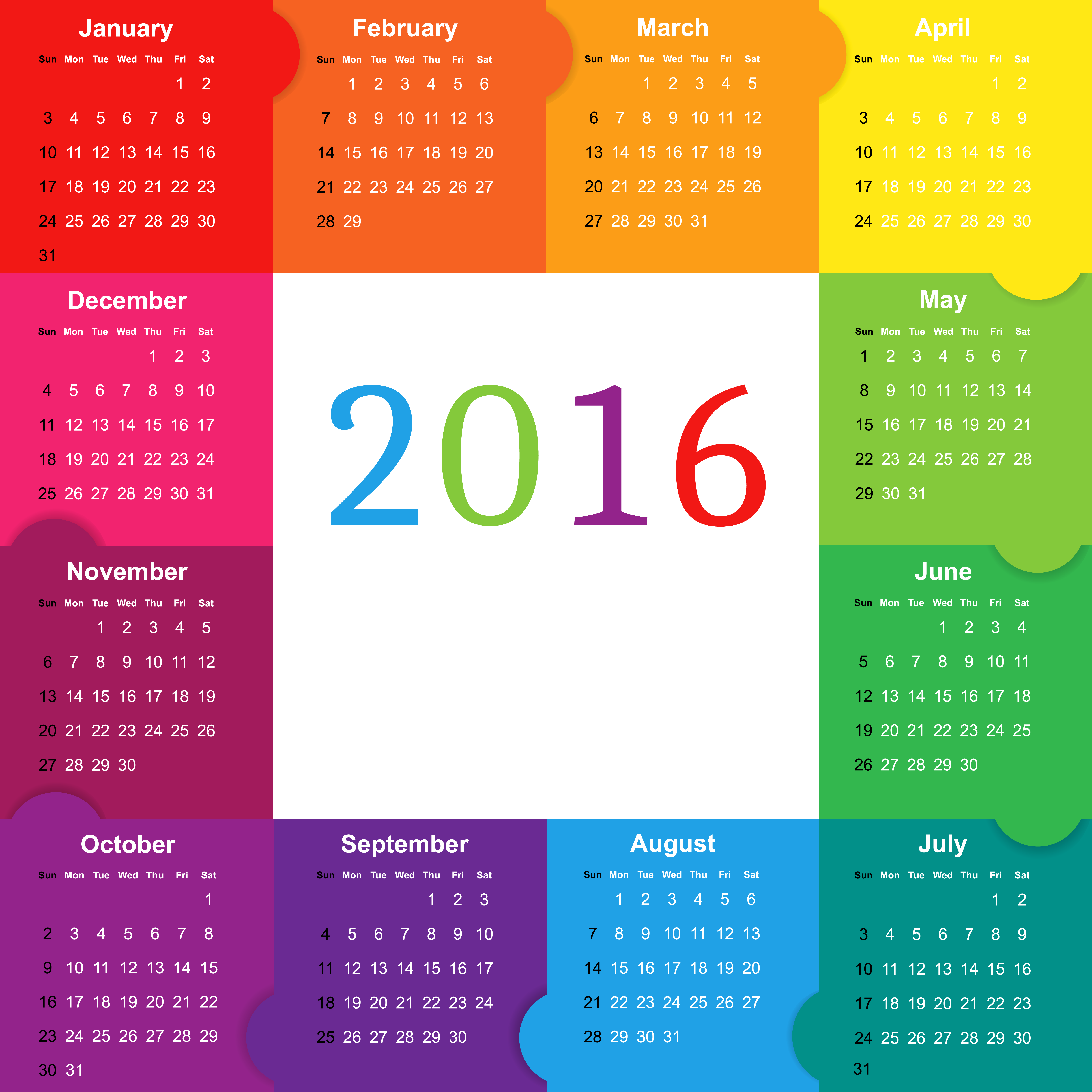 2016 clipart 2016 calendar. Colorful png image gallery
