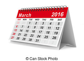 2016 clipart 2016 calendar. March and stock illustrations