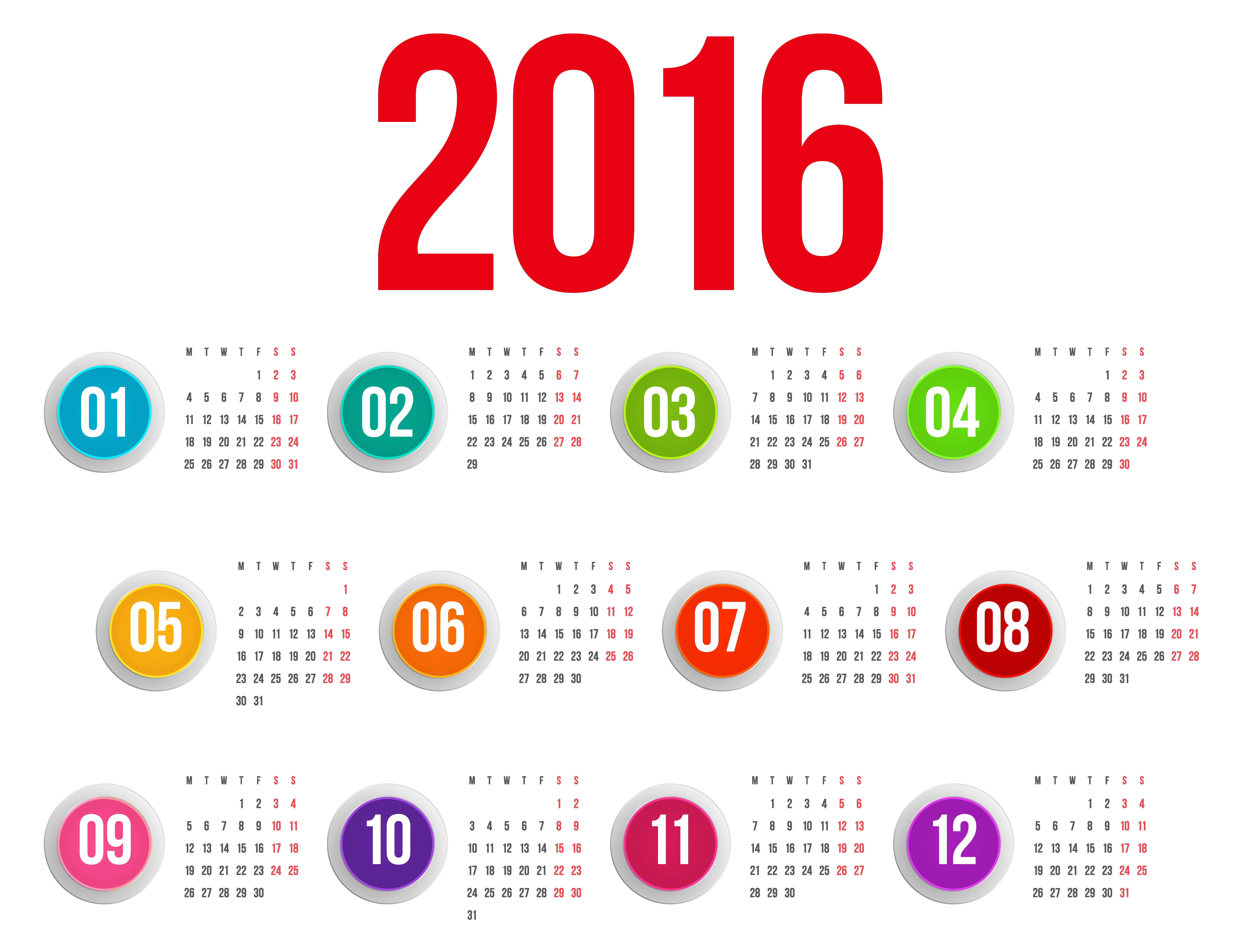 Transparent png image gallery. 2016 clipart 2016 calendar