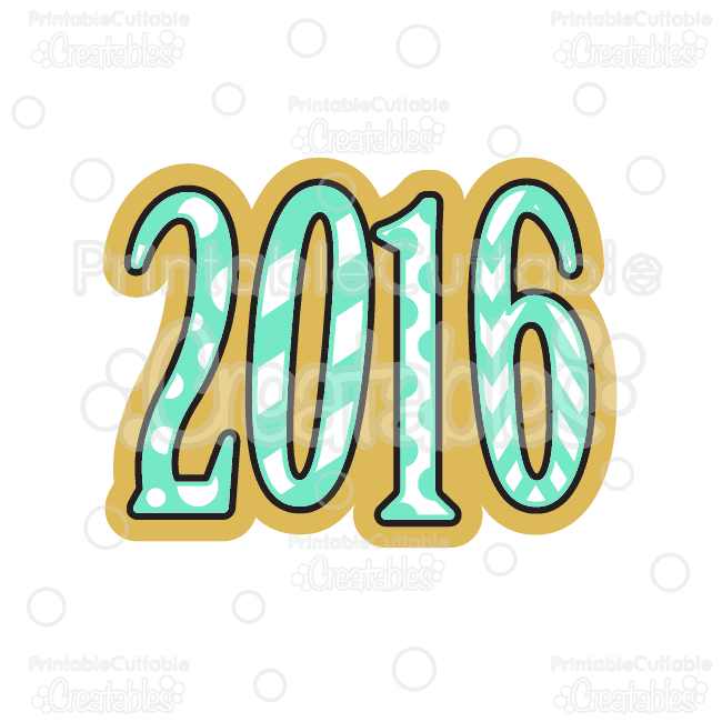 2016 clipart.  new year svg