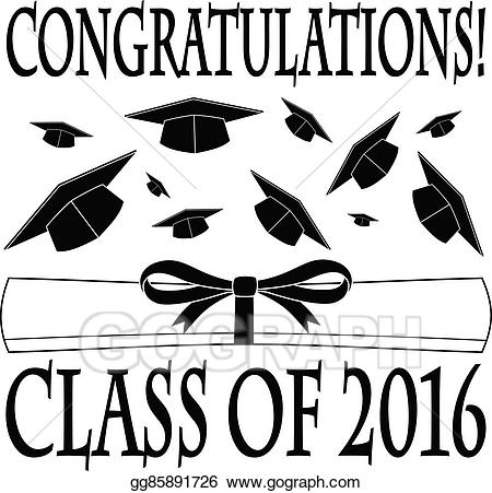 Vector art congratulations class. 2016 clipart black and white