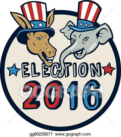 Vector art us election. 2016 clipart cartoon