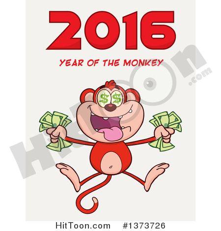 2016 clipart cartoon. Of a rich monkey
