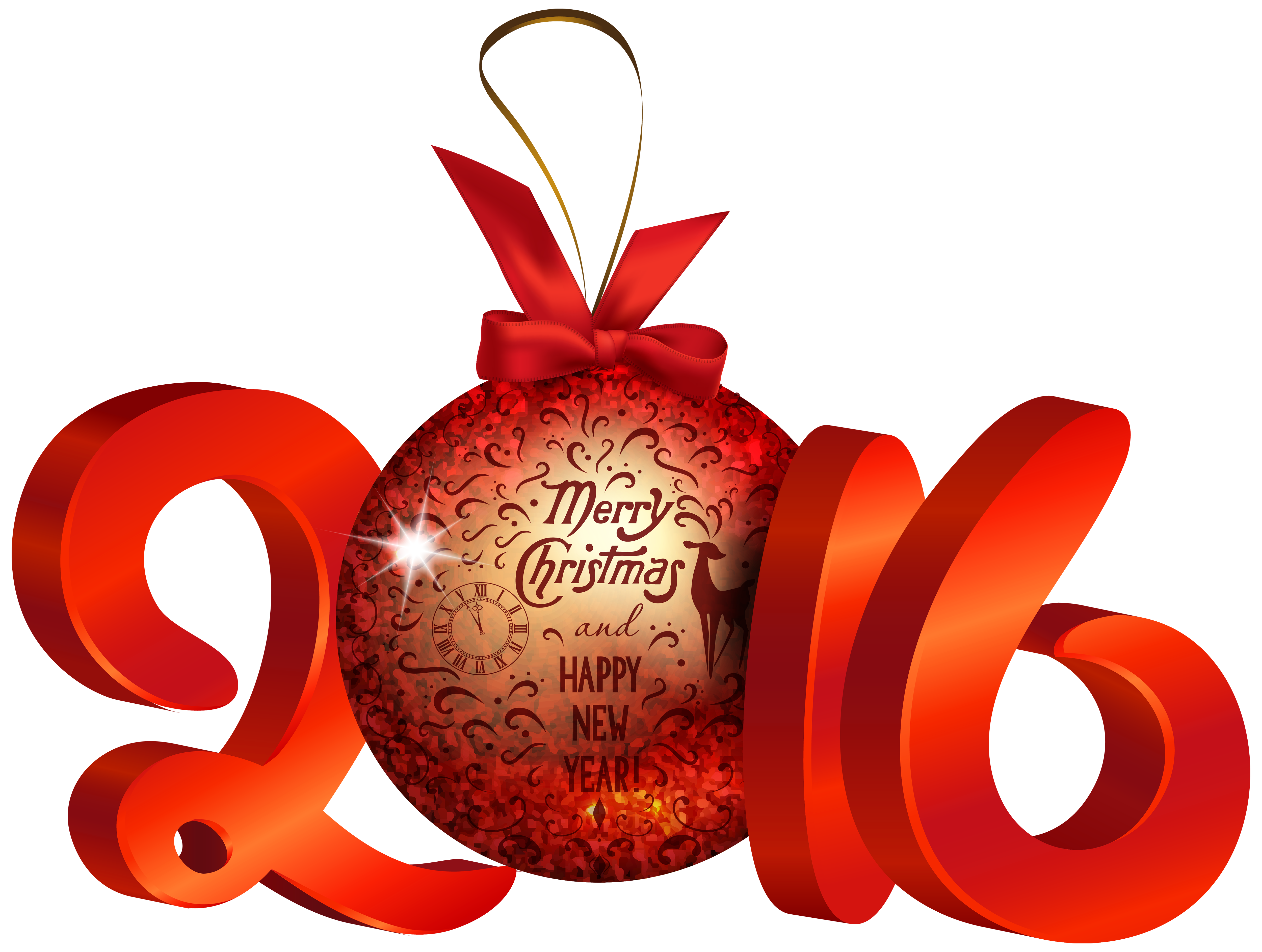 2016 clipart christmas. Red decoration png image
