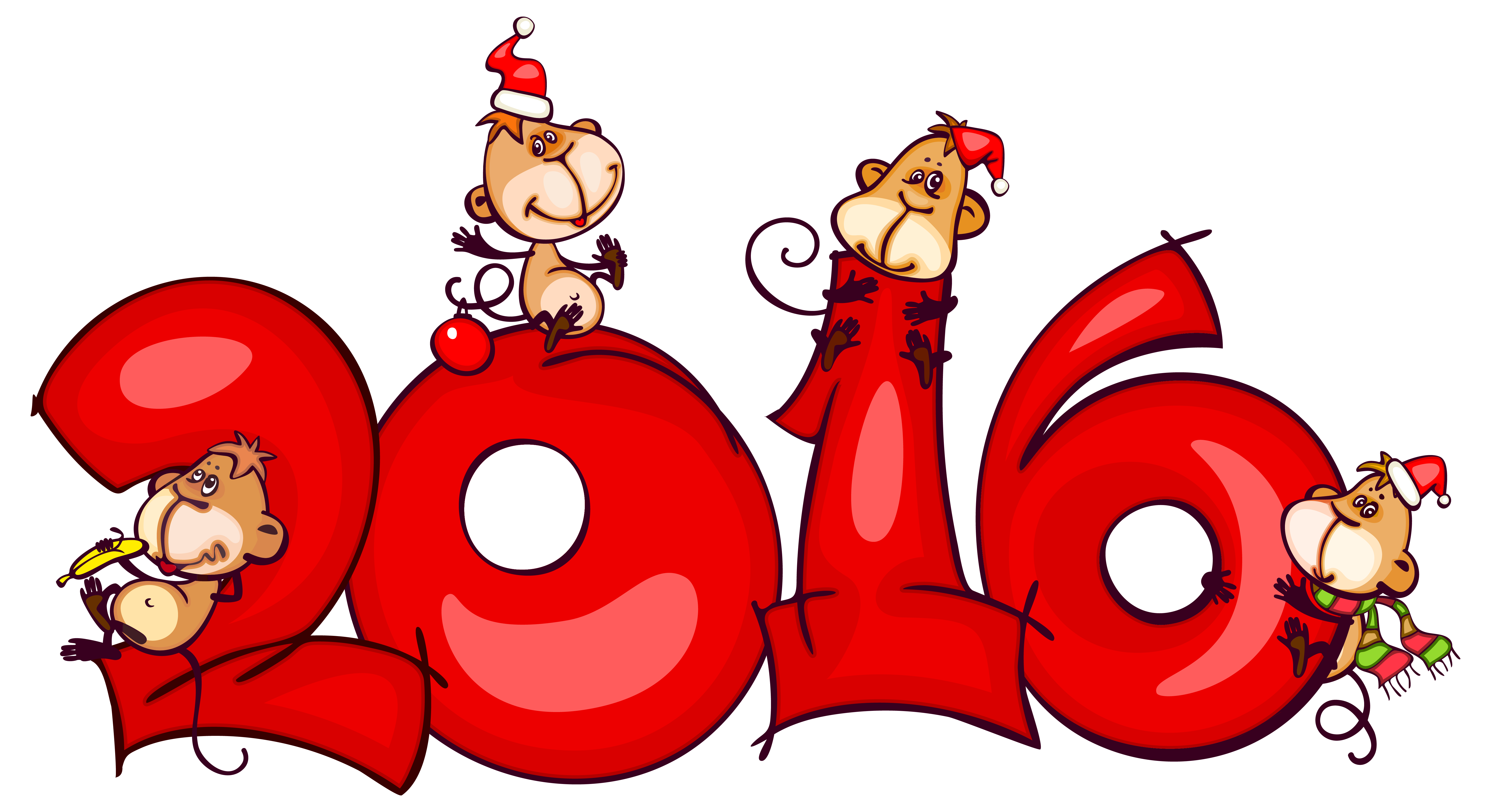 2016 clipart christmas.  with monkeys png